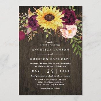 sunflower burgundy red roses rustic wood wedding invitation