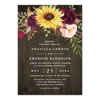sunflower burgundy red roses rustic wood wedding invitation