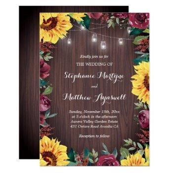 sunflower burgundy rose wood jar lights wedding invitation