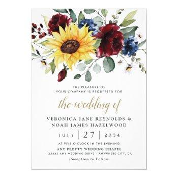 sunflower burgundy roses navy blue rustic wedding invitation