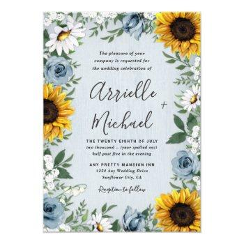 sunflower dusty blue country rustic roses wedding invitation