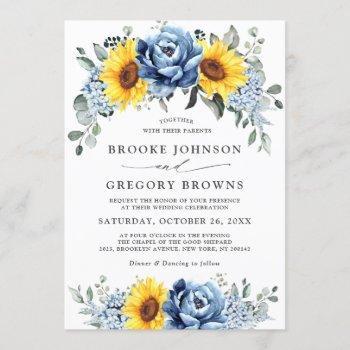 sunflower dusty blue slate peony floral wedding invitation