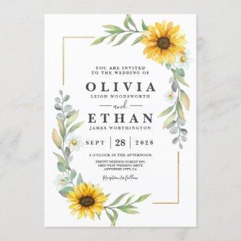sunflower elegant rustic geometric gold invitation