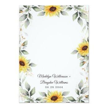 Small Sunflower Elegant Rustic Geometric Gold Wedding Invitation Back View
