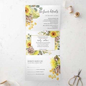sunflower eucalyptus watercolor floral wedding tri-fold invitation