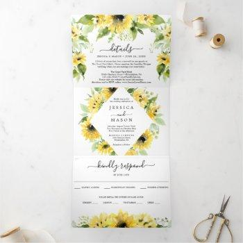 sunflower garden wedding tri-fold invitations