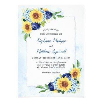 sunflower hydrangea blue watercolor wedding invitation