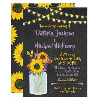 sunflower mason jar chalkboard wedding invitations