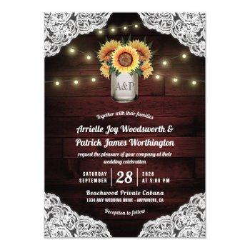 sunflower mason jar wood lace wedding invitations