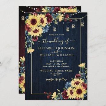 sunflower navy blue burgundy wood floral wedding invitation