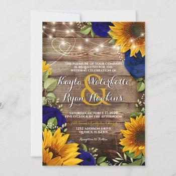 sunflower & navy roses rustic wood lights invite