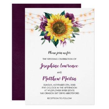 sunflower plum purple rose floral lights wedding invitation