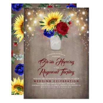 sunflower radiant bloom mason jar fall wedding invitation
