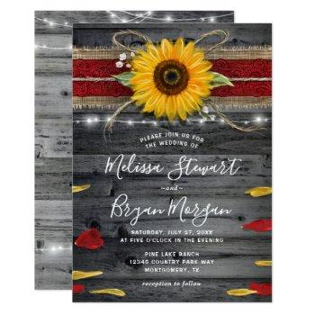 sunflower rose burgundy lace rustic wood wedding invitation