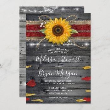 sunflower rose burgundy lace rustic wood wedding invitation