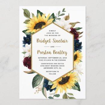 sunflower roses and magnolia rustic themed wedding invitation