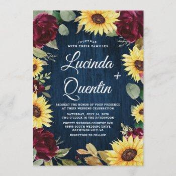 sunflower roses burgundy red and navy blue wedding invitation