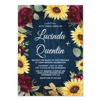 sunflower roses burgundy red and navy blue wedding invitation