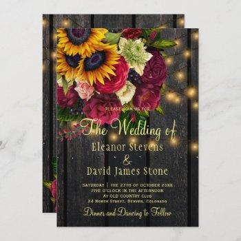 sunflower roses rustic country barn wood wedding invitation