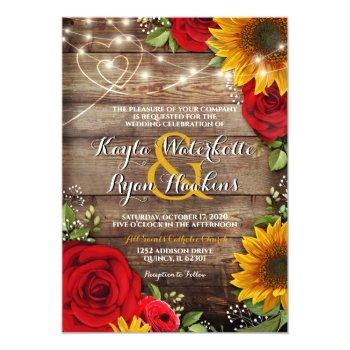 Small Sunflower & Roses Rustic Wood Lights Invitation Front View
