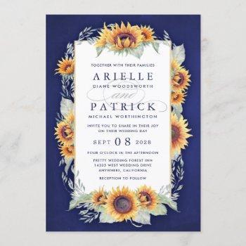 sunflower royal blue rustic wedding invitations