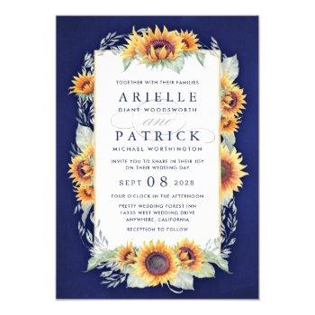 sunflower royal blue rustic wedding invitations