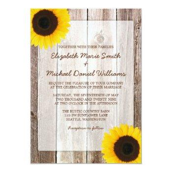 sunflower rustic barn wood wedding invitation
