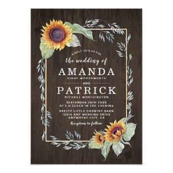 sunflower rustic watercolor wedding invitations