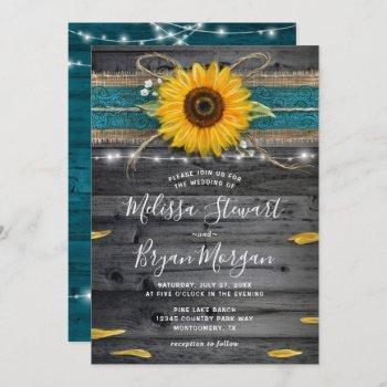sunflower teal burlap lace rustic wood wedding invitation