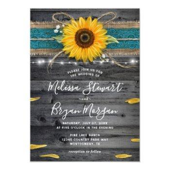 Small Sunflower Teal Burlap Lace Rustic Wood Wedding Invitation Front View
