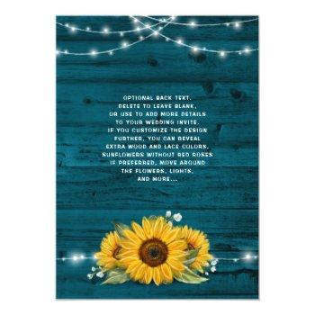 Small Sunflower Teal Burlap Lace Rustic Wood Wedding Invitation Back View