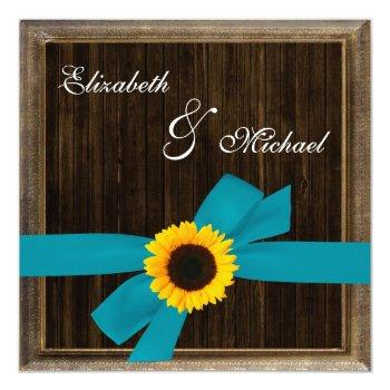 sunflower turquoise ribbon barn wood frame wedding invitation