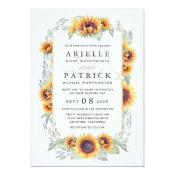 Small Sunflower Vintage Watercolor Wedding Invitations Front View