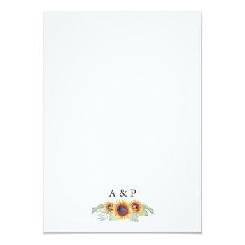 Small Sunflower Vintage Watercolor Wedding Invitations Back View