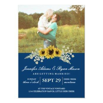 sunflower wedding invitation with photo