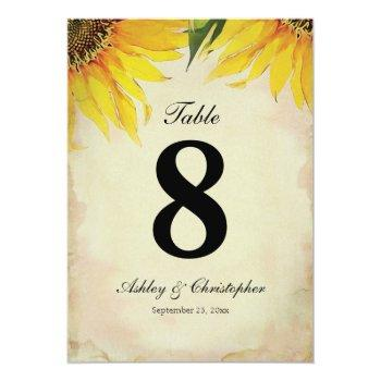 sunflower wedding reception table number eight