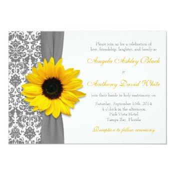 sunflower yellow pewter grey white damask wedding invitation