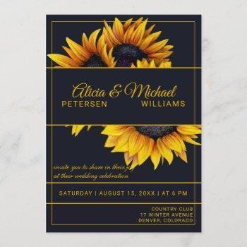 sunflowers bloom | navy and gold modern wedding invitation