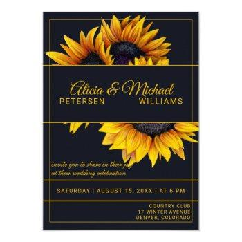 sunflowers bloom | navy and gold modern wedding invitation