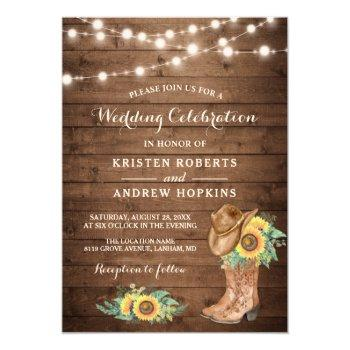 sunflowers boots string lights western wedding invitation