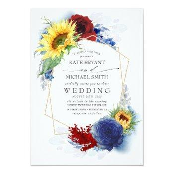 Small Sunflowers Burgundy Red And Navy Blue Fall Wedding Invitation Front View