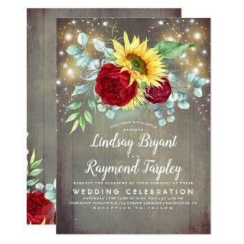 sunflowers burgundy red floral rustic fall wedding invitation