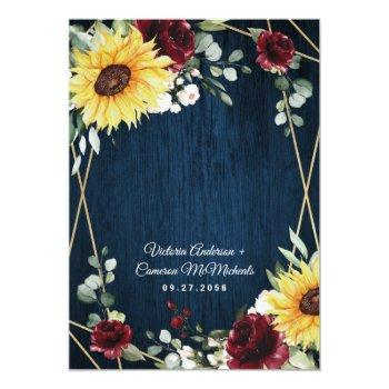 Small Sunflowers Burgundy Roses Navy Geometric Wedding Invitation Back View
