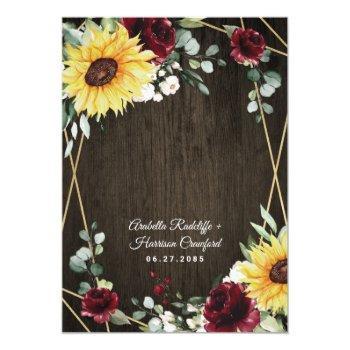 Small Sunflowers Burgundy Roses Rustic Geometric Wedding Back View