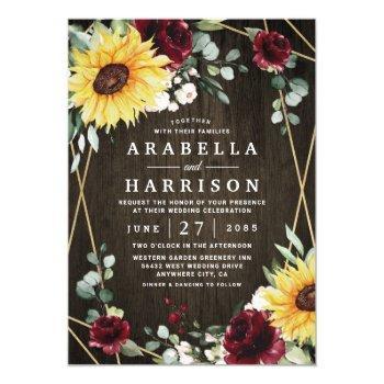 sunflowers burgundy roses rustic geometric wedding invitation