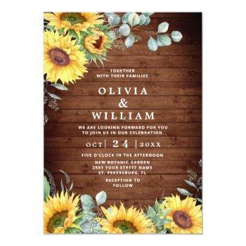 sunflowers eucalyptus watercolor rustic wedding invitation