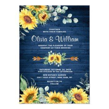 sunflowers eucalyptus watercolor rustic wedding invitation