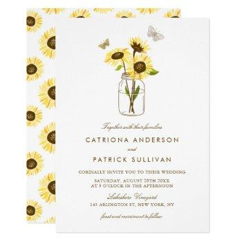 sunflowers in mason jar country rustic wedding invitation