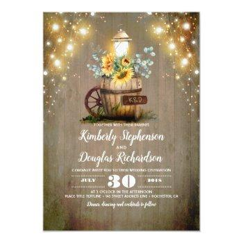 sunflowers lantern rustic floral fall wedding invitation