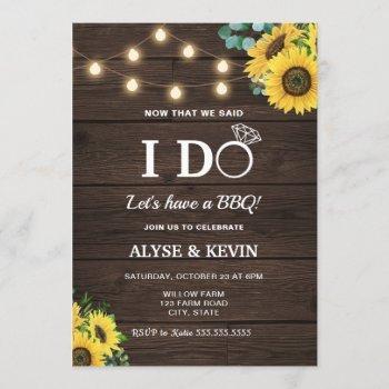sunflowers, lights and barnwood i do bbq invitation